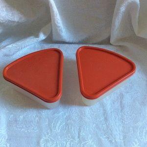 Vintage Tupperware pair of pie slice keepers euc